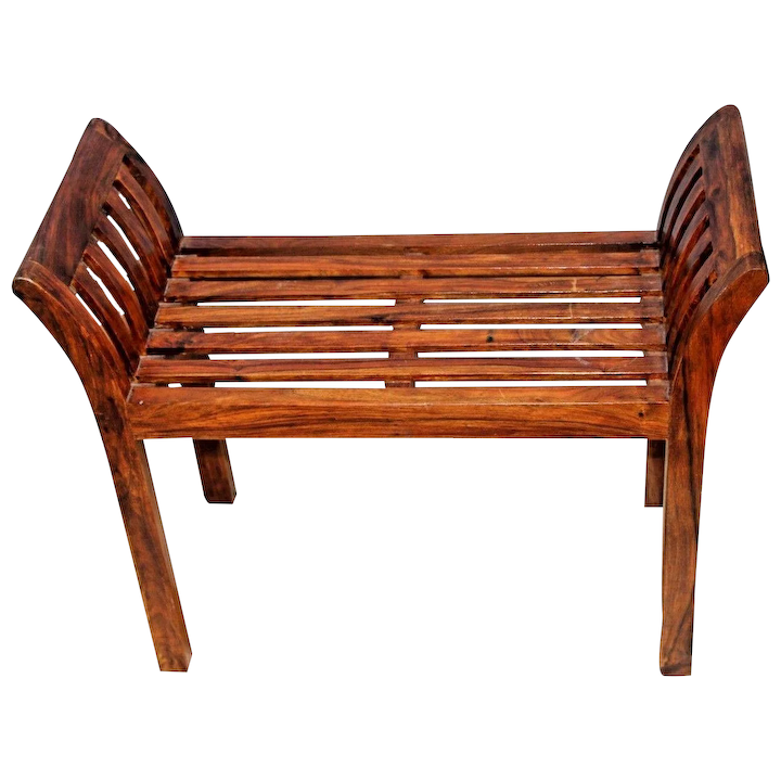 Vintage Rustic Italian Style Solid Wood Bench Seat Arms Hand Crafted At Melrose And Antique Furniture Ruby Lane