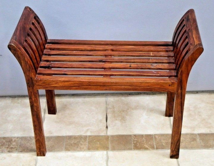 Vintage Rustic Italian Style Solid Wood Bench Seat Arms Hand Crafted Sy