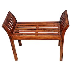 Vintage Rustic Italian Style Solid wood Bench seat arms hand crafted sturdy
