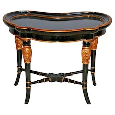 Vintage Maitland Smith Kidney Shape Serving Side Table Neoclassical Egyptian