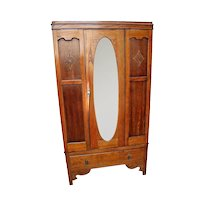 Vintage Wardrobe Closet Tiger Oak hangar Center Door Oval Beveled mirror drawer