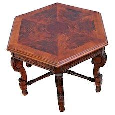 Victorian Hexagon Mahogany Table Mahogany burl wood inlays hand carved sides