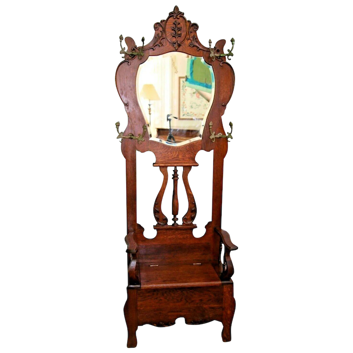 Outstanding Vintage Hall Tree Throne Style Tiger Oak Beveled Mirror Seat Bench With Storage Ncnpc Chair Design For Home Ncnpcorg