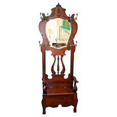 Vintage HALL TREE Throne style Tiger oak Beveled Mirror Seat Bench with storage