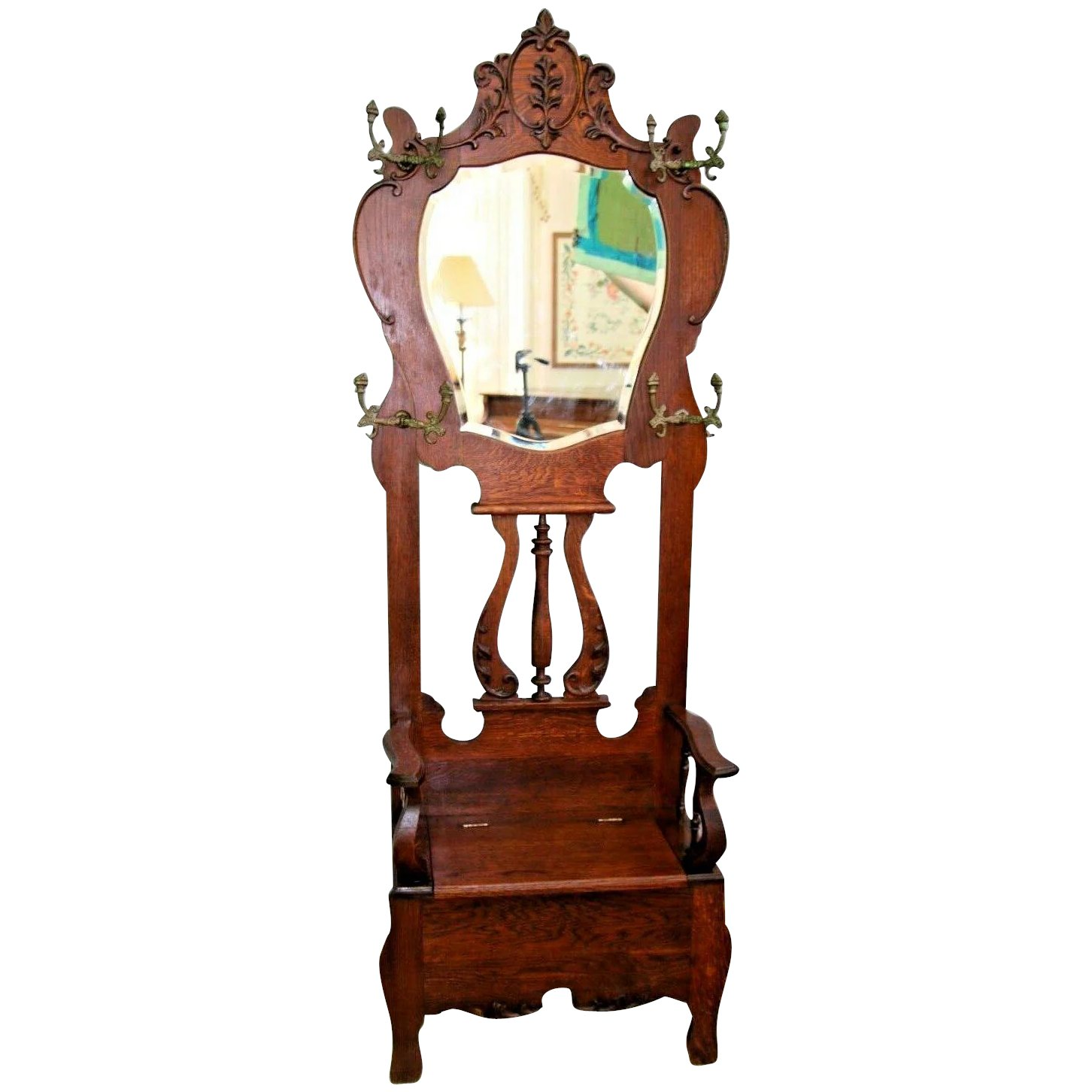 Vintage Hall Tree Throne Style Tiger Oak Beveled Mirror Seat Bench At Melrose Vintage And Antique Furniture Ruby Lane