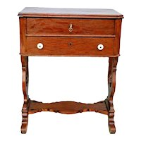 Antique Tiger Oak Victorian Sewing Work Stand Desk Two Locking Drawers with Key