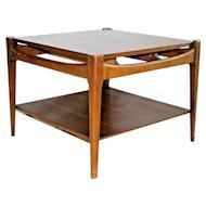 Vintage mid century modern Lamp table Bassett Furniture Walnut bottom shelf