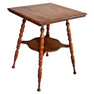 Antique Square two Tier Parlor Table Stand Golden Oak Carved top side edges