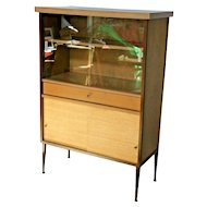 MID CENTURY Bookcase with drawer and bottom cabinet shelf glass sliding doors