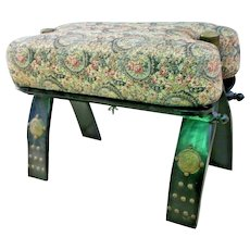 Vintage Camel Saddle Stand Foot Stool Silk road trade route style Wood tapestry