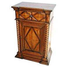 Vintage Hooker Furniture serving Cabinet with drawer shelf barley twist trim