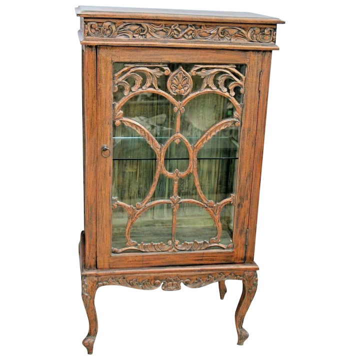 Antique French Art Nouveau Showcase Cabinet Hand Painted Carved Led