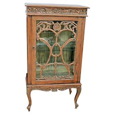 Antique French Art Nouveau Showcase Cabinet Hand Painted Carved Led Lighted