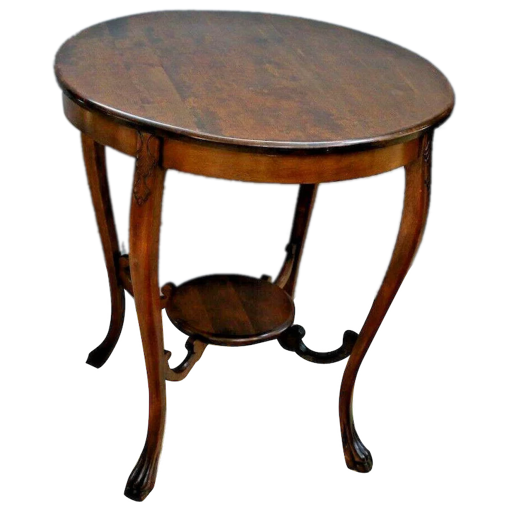 Antique Round Parlor Lamp Table Two Tier Large Plant Stand Solid At Melrose Vintage And Antique Furniture Ruby Lane
