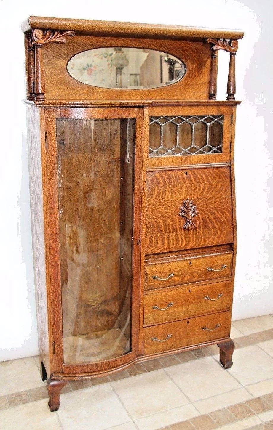 Antique Tiger Oak Side By Side Double Bookcase Secretary Curio Cabinet At Melrose Vintage And