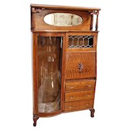 Antique Tiger Oak Side By Side Double Bookcase Secretary Curio Cabinet