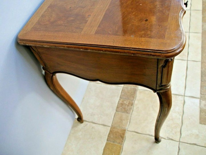 Vintage Desk Thomasville Furniture French Country Burlwood Parquet Inlay Top