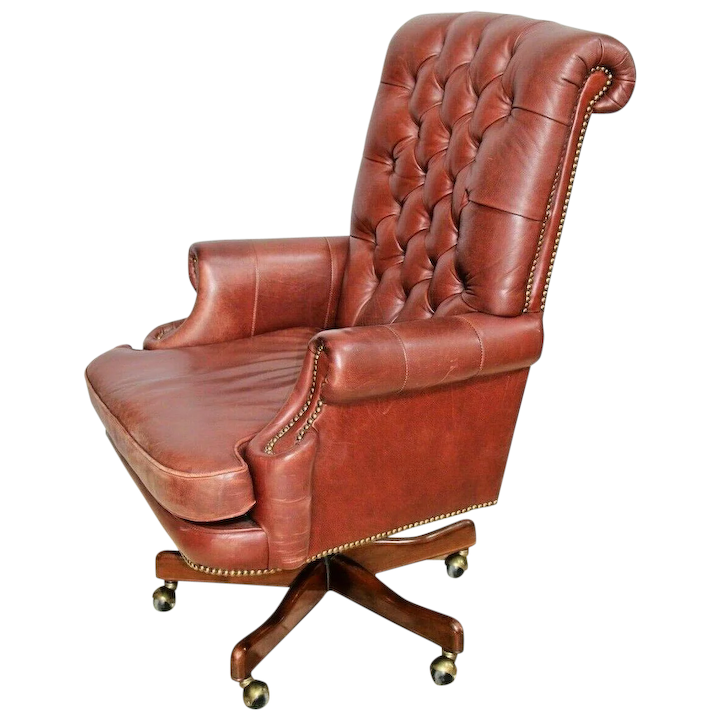 Wondrous Vintage Bradington Young Leather Desk Chair Tufted Leather Spins Rolls Rocks Pdpeps Interior Chair Design Pdpepsorg