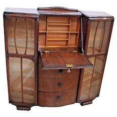 RARE Eagle Brand Secretary locking Desk Double China Cabinet Mahogany 4 drawers