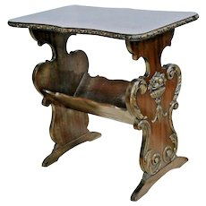 Antique Side Table with Magazine Rack Solid Mahogany Italian Victorian carvings