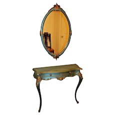 Antique French Entry Table & Wall Mirror Set Two drawers Teal and Gold Vanity