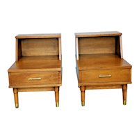 Mid Century Drexel Nightstands matching Pair Bedside step end lamp tables