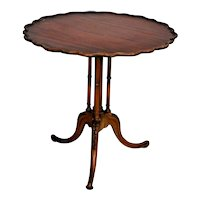 Rare French round Table Fluted quad pedestal Pie crust top custom french cut