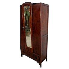 Vintage Locking Door Tiger Oak Mission style Wardrobe Closet Mirror bottom drawer