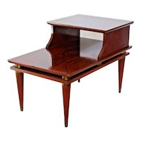 Mid Century Modern Brass Mahogany End Table three Tier top inlays