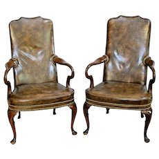 Vintage Hickory Chair Regency Style Mahogany Library, parlor Arm Chairs Matching