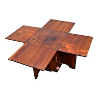 Mid Century Modern Geometric Tetris Coffee table adjustable drop leafs storage