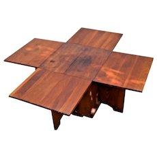 Mid Century Modern Geometric Tetris Coffee table adjustable drop leafs storage