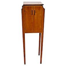 Vintage Ethan Allen Mid Century Modern Style Two Door Tall Cabinet Table Stand