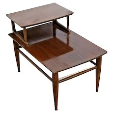 Vintage Danish Modern Mid Century Top Step End Table by Mersman original patina