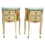 Gorgeous Vintage French Country Matching Bedside Tables Nightstands Rose Themed