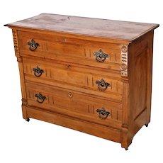 Civil War Era Antique Oak Buffet Server Chest of Drawers Dresser 1/2 moon joints