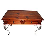 Vintage Rustic Handmade Forged bent Iron Pine Writing Desk with Matching Chair