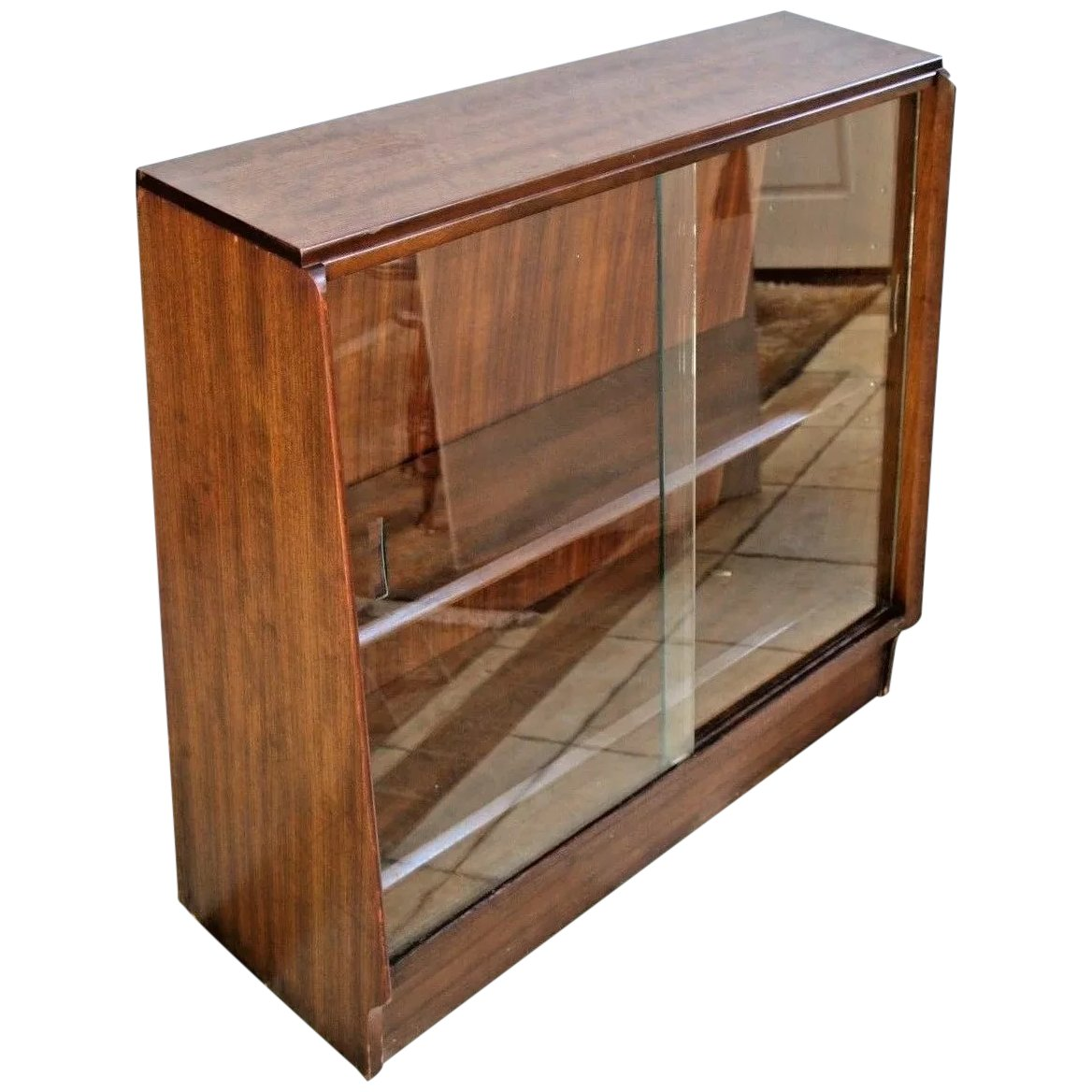 Mid Century Bookcase Two Shelves Glass Sliding Doors Solid Walnut Construction