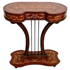 French Lyre Pedestal Small Writing Desk Inlays Side Entry Table drawer Marquetry