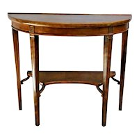 Vintage Half circle Table Solid Walnut medium sized Bottom shelf Italian country