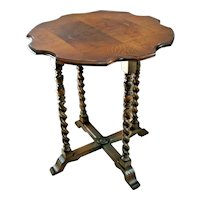 Rare Stunning Mersman Octagon Table Burl Walnut barley twist cross legs