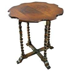 Rare Stunning Mersman Octagon Table Burl Walnut barley twist cross legs