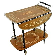 Serving Cart Vintage Italian Marquetry Wine Rack champagne rolling bar service