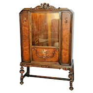 Vintage Berkey and Gay china Cabinet Hand Painted Italian Carved Lighted lock