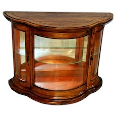Vintage Curved glass china Cabinet window height Lighted glass shelf two doors Solid walnut