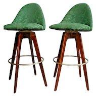 Mid Century Walnut Bar stools by Chet Beardsley Swivel Seats with back set of 2