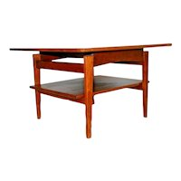 Mid Century Table Walnut and Garmica by Jens Risom Two Tier Bottom shelf