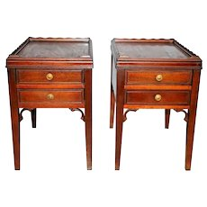 Antique Victorian Nightstands End Side Tables Solid Mahogany Matching pair