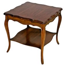 MERSMAN Table with bottom shelf French country two tier walnut high quality