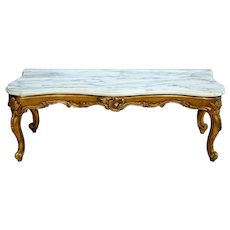 French Mirror Base Low hall console Table Gold gilt White marble